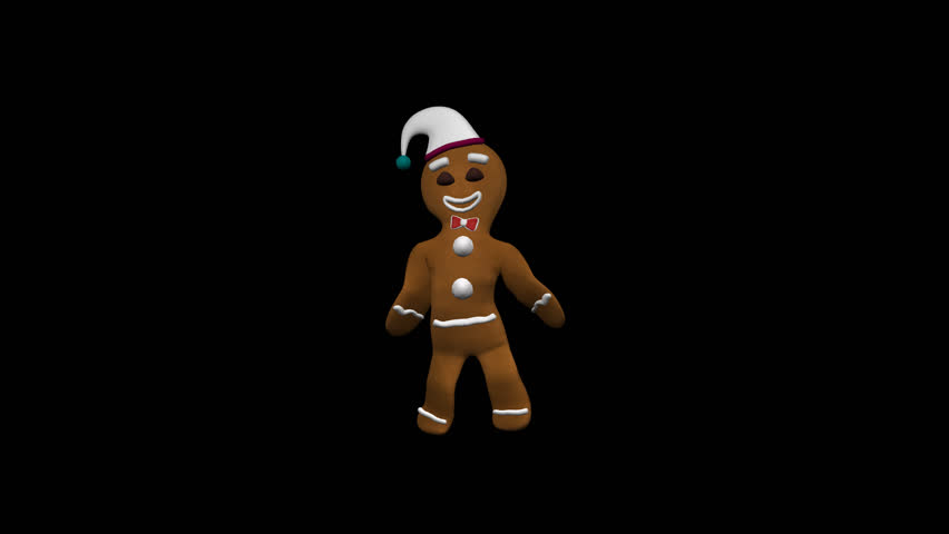 Gingerbread Dancer In White Xmas Hat - Alpha - 3D animation of funny, hot and sweet cookie man solo dancing for holiday and kid event, show, VJ, party, music, website, banner, dvd, screensaver...