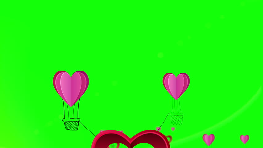 Digital animation of happy valentines day vector with heart hot air balloons | Shutterstock HD Video #8426329
