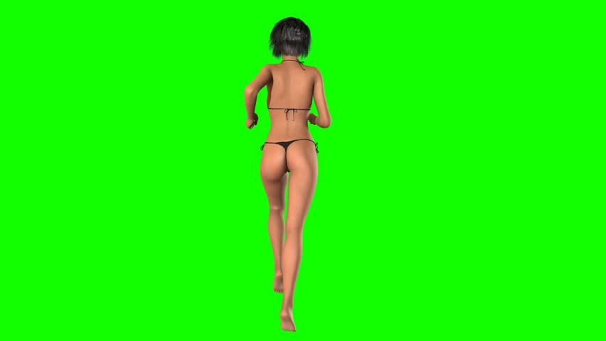 Beach girl in bikini runs - green screen - seamless loopable    Shutterstock HD Video #8429626