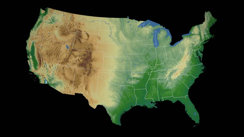 Usa North Dakota State Bismarck Extruded On The Physical Map Of The United