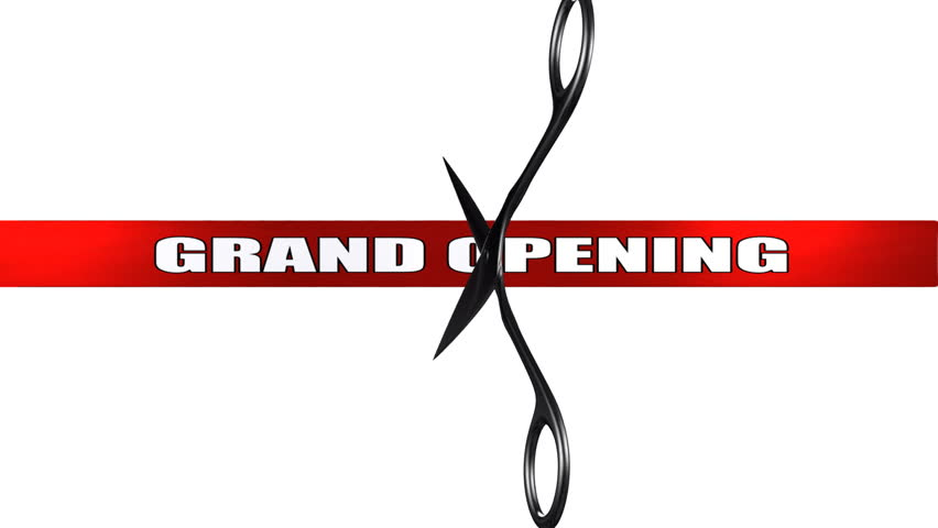 Scissors cut GRAND OPENING red ribbon. Comes with Alpha.
