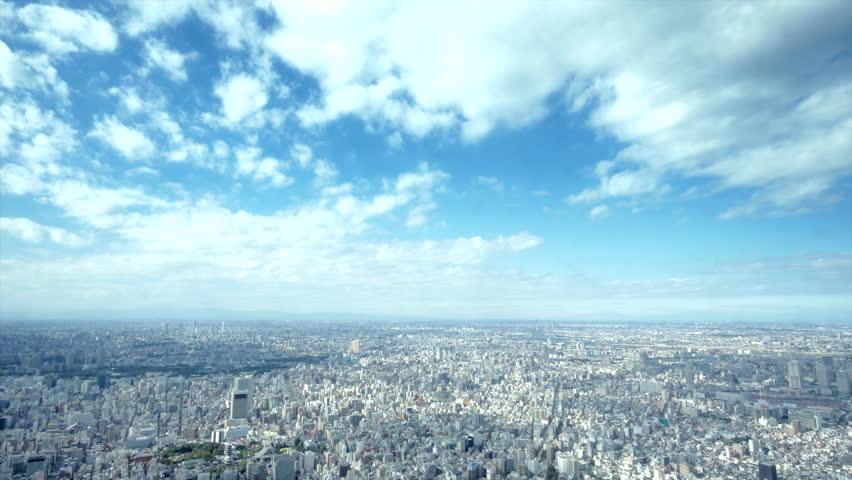 4K aerial time lapse of Tokyo - urban panorama with beautiful clouds / City view from the Sky Tree tower - urban landscape #8485828