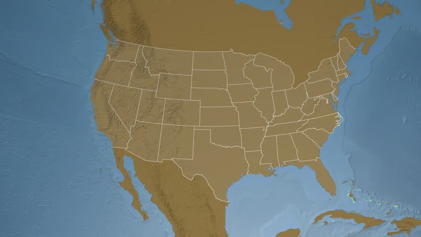 USA North Carolina State Raleigh Extruded On The Satellite Map - 4k image of us map