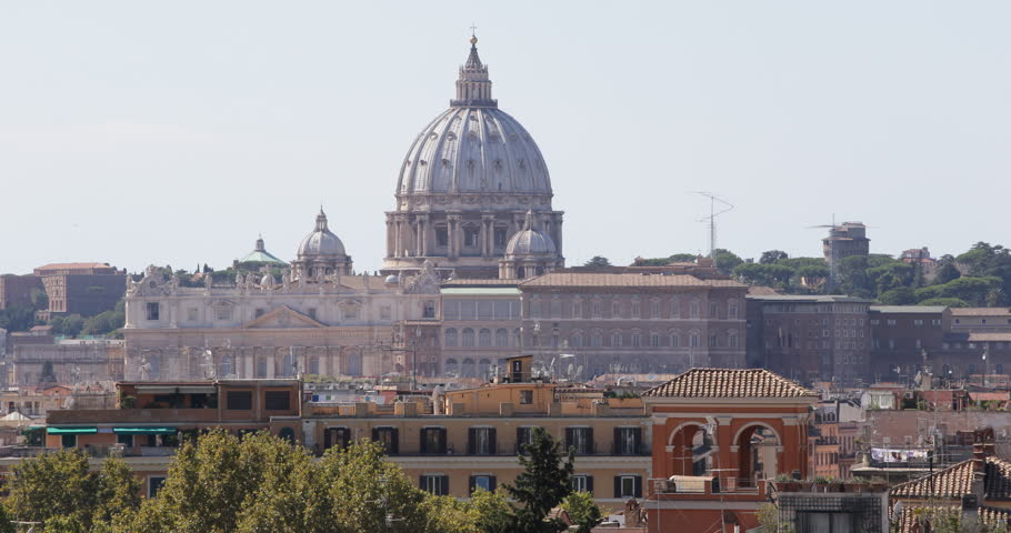 Rome Skyline St. Peter's Basilica Vatican City Medieval Ancient Old Houses Roofs ( Ultra High Definition, UltraHD, Ultra HD, UHD, 4K, 2160P, 4096x2160 )   Shutterstock HD Video #8539525