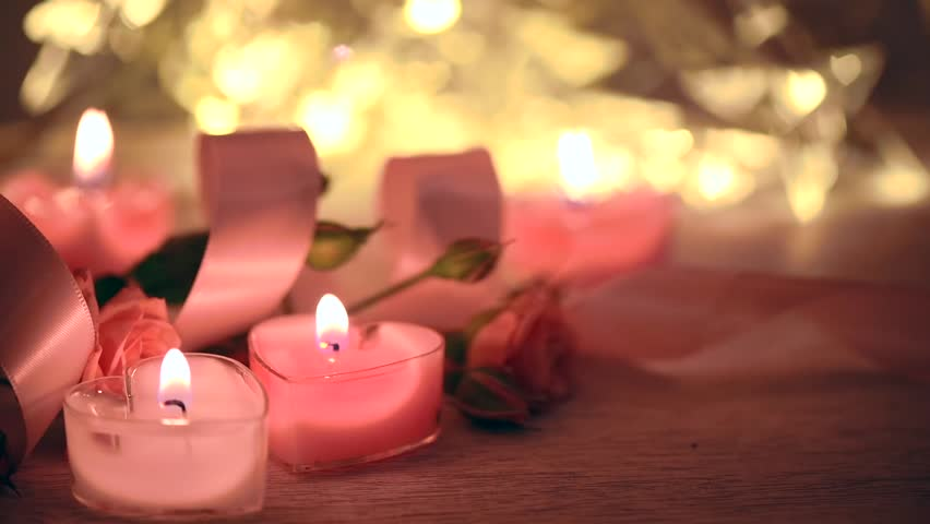 Close Up Shot Of A Man That Lights Candles. Valentines Day. Making ...