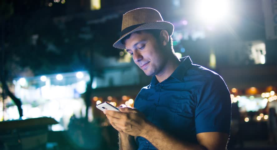 Handsome Man Typing Smartphone Urban Downtown Night Lights Communication Technology 4G Reception Texting Sms App Travel Application Social Network Blogger Uhd 4K | Shutterstock HD Video #8593168