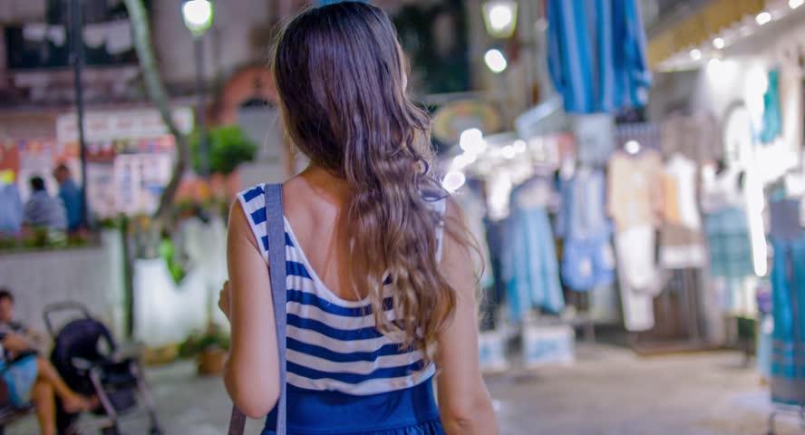 Beautiful Tourist Woman Walking Shopping Vacation Tropical Island Night Getaway Holiday Shops Freedom Lifestyle Fashion Uhd 4K