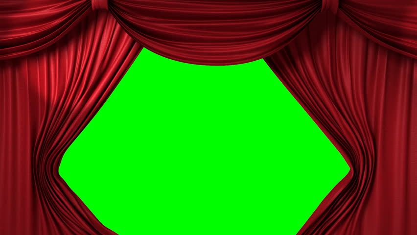 opening red theatrical curtain with spotlights, realistic 3d animation