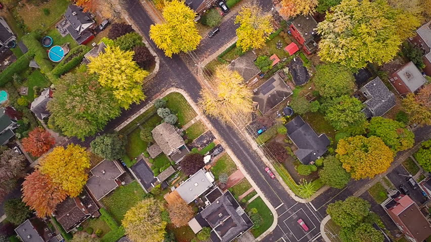 Top Suburban View of Montreal and beautiful Trees during a Cloudy Autumn day   Shutterstock Video #8627089