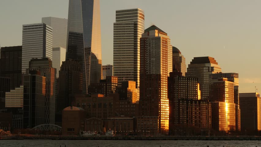 Cityscape panorama view at sunset magic hour light. modern high rise buildings | Shutterstock HD Video #8700205