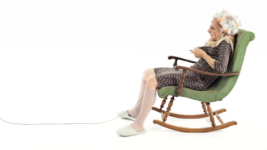 Senior Woman Knitting In Rocking Chair Stock Footage Video 4546409 ...