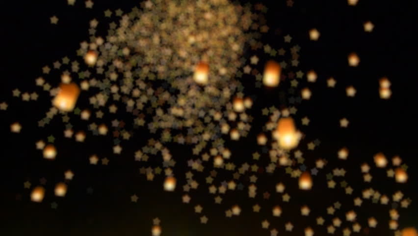 Many Bokeh Of Sky Fire Lanterns Floating In Sky (long shot) | Shutterstock HD Video #8737597