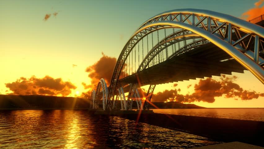 Modern bridge architecture. epic sunset dusk. panorama landscape. | Shutterstock HD Video #8848261