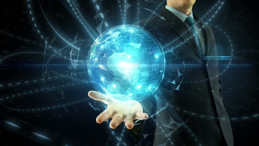 Businessman hold over hand animated global digital link social network media and internet network concept over space globe