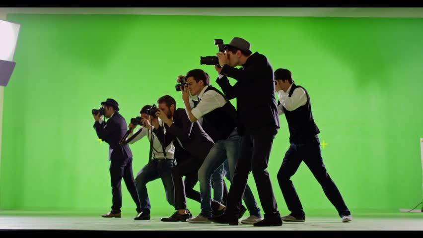 4K FEW SHOTS! Group of paparazzi. Photo shoot on green screen. Slow motion. Shot on RED EPIC Cinema Camera.