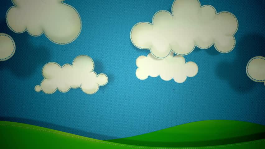 Cartoon Vector Illustration Clouds Running On Blue Sky ...