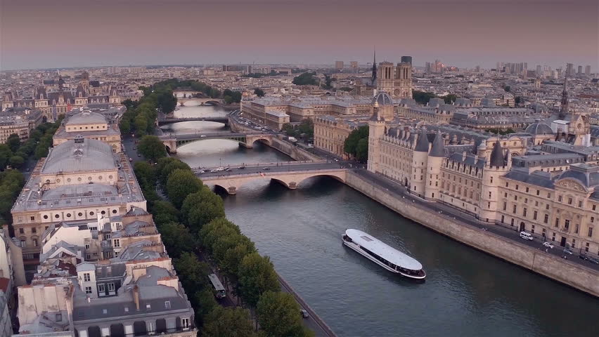 Aerial view of Paris during sunset | Shutterstock HD Video #8908498