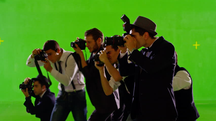FEW SHOTS! 4K Group of paparazzi. Photo shoot on green screen. Slow motion. Shot on RED EPIC Cinema Camera.