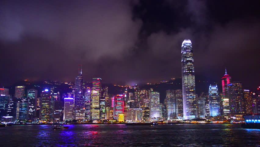 Hong Kong, China nighttime skyline footage. | Shutterstock HD Video #8999338