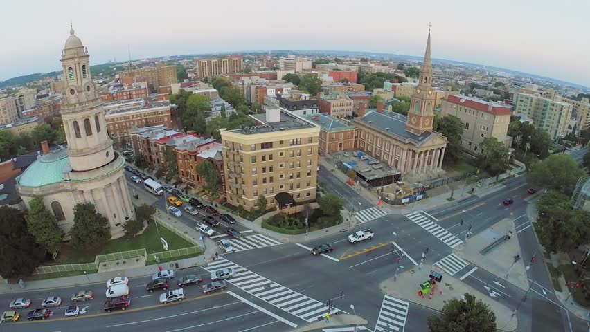 Panorama of Washington DC with neighborhoods Columbia Heights, Adams Morgan and Mount Pleasant at summer evening. Aerial view in timelapse