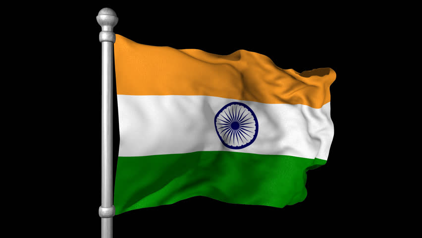 India Flag Black: Seamless Looping High Definition Video Of The Indian Flag