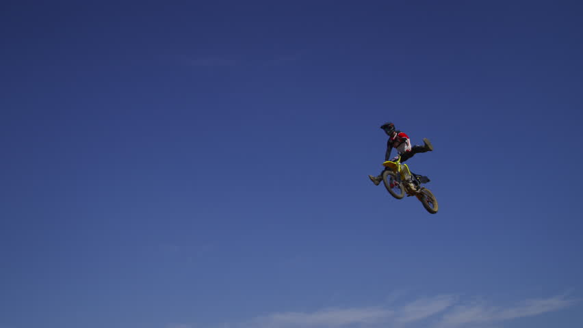Motocross Rider Going Off Big Jump Slow Motion 4K Shot On RED Epic
