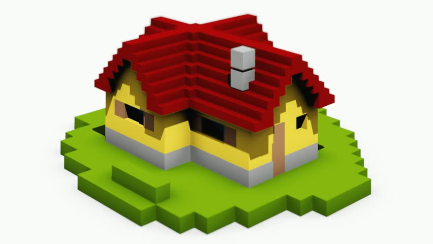 Animated Construction Building Of Cartoon Block House