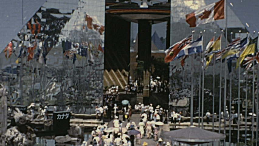 Osaka - 1970: people visiting the Expo '70 in 1970 in Osaka