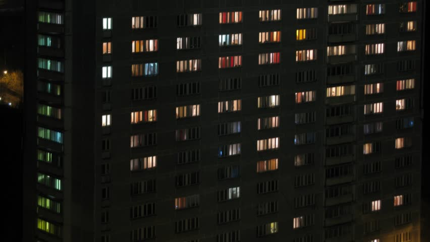 Closeup of turns on and off the light in the windows College at evening. Time lapse.  | Shutterstock HD Video #9077240