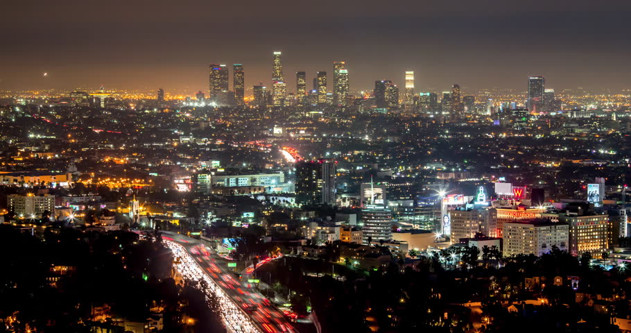 LOS ANGELES - CIRCA FEBRUARY 2015: Downtown skyline night timelapse | Shutterstock HD Video #9080300