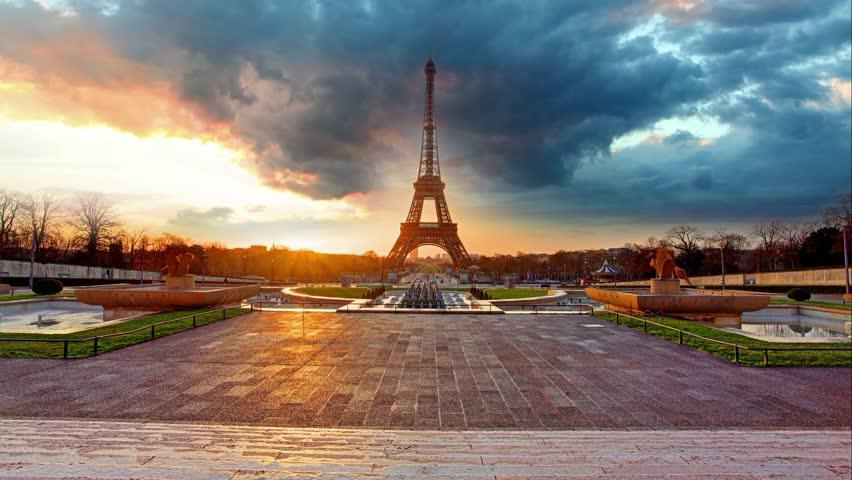 Paris, Eiffel tower at sunrise, Time lapse | Shutterstock HD Video #9126647