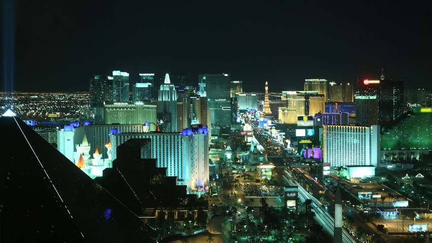 Time lapse Las Vegas at night from high above. All trademarks are blurred.   | Shutterstock HD Video #916732