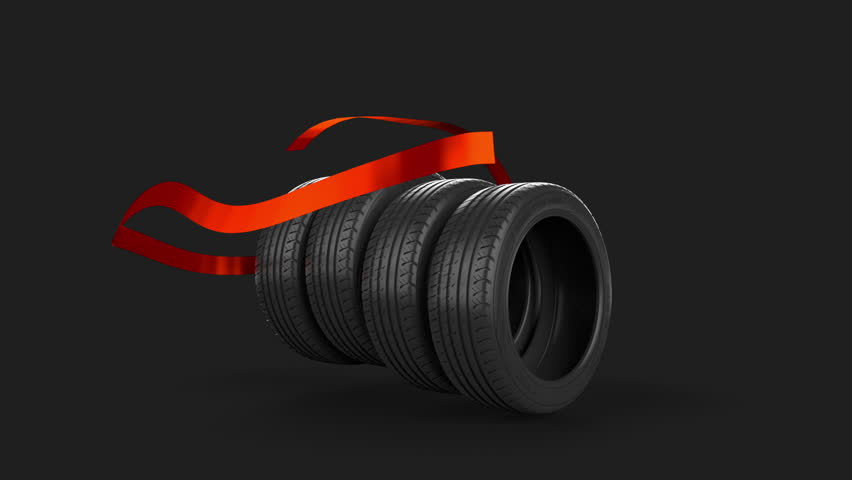Four tire tyre isolated on grey with animated motion use it for sale present or gift element due to the ideal mask