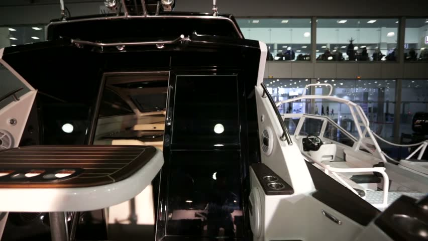 "MOSCOW, RUSSIA - MARCH 10, 2015: Glidecam, exterior and interior view of yacht. International boats and yachts exhibition, ""Moskovskoe Boat Show"" in Crocus expo pavillion. 