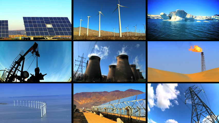 Montage Of Multiple Images Showing Wind Amp Solar Power