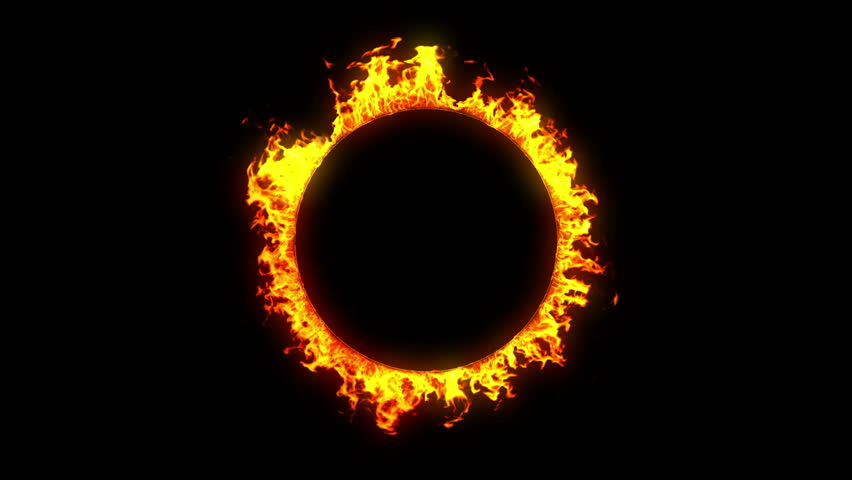 Beautiful Ring of Fire Looped. HD 1080. Alpha channel. Outer.