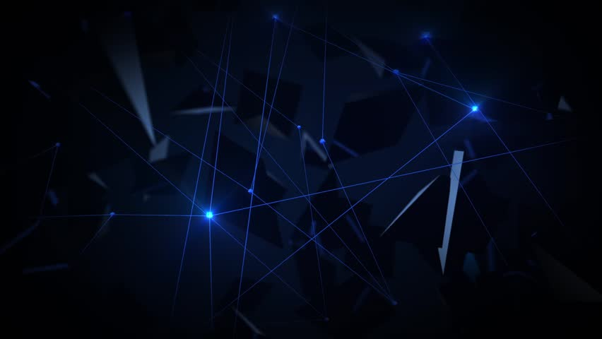 Abstract flat surface 3d animation. Blue dots connection on dark background | Shutterstock HD Video #9386726