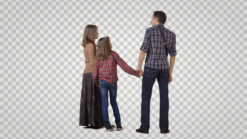 3 people: man, woman & girl stand side by side, wait, talk. Back view. Footage with alpha channel. File format - mov. Codeck - PNG+Alpha Combine these footage with other people to make crowd effect