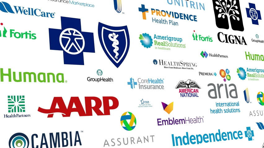 Editorial animation: Loopable animation of a large compilation of major US Health Insurance Brands.  All logos and trademarks remain property of their respective owners.  Editorial only.