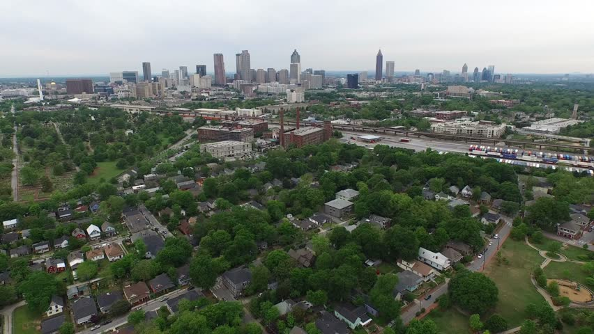 Downtown Atlanta Georgia Daytime -  Aerial View and Establishing Shot