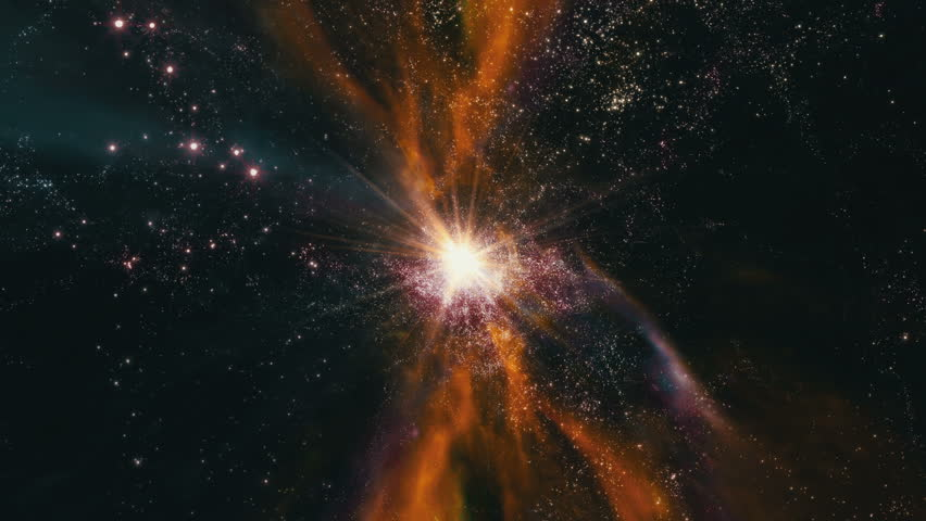 Flying through star fields and galaxies in deep space as a supernova bursts light (Loop).
