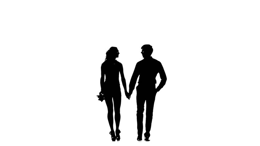 Silhouette Of Couple Standing And Kissing. Front View ...